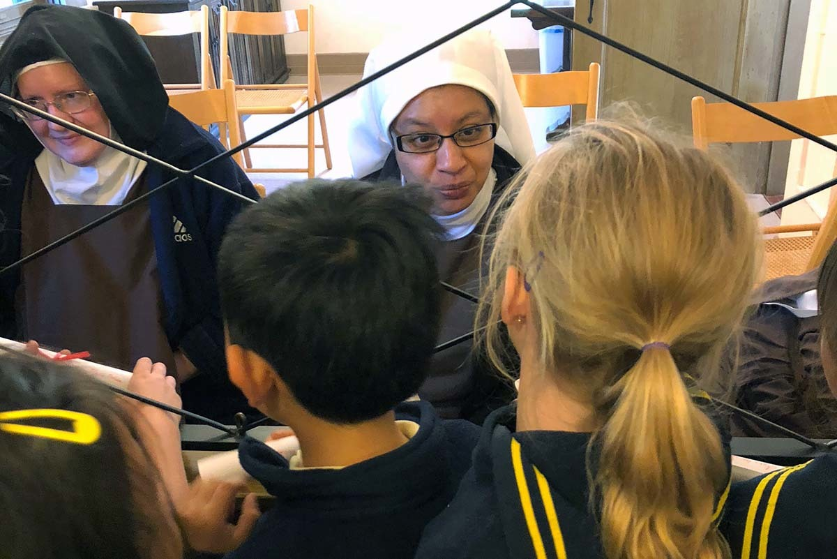 First-graders get to know the nuns of Carmelite Monastery