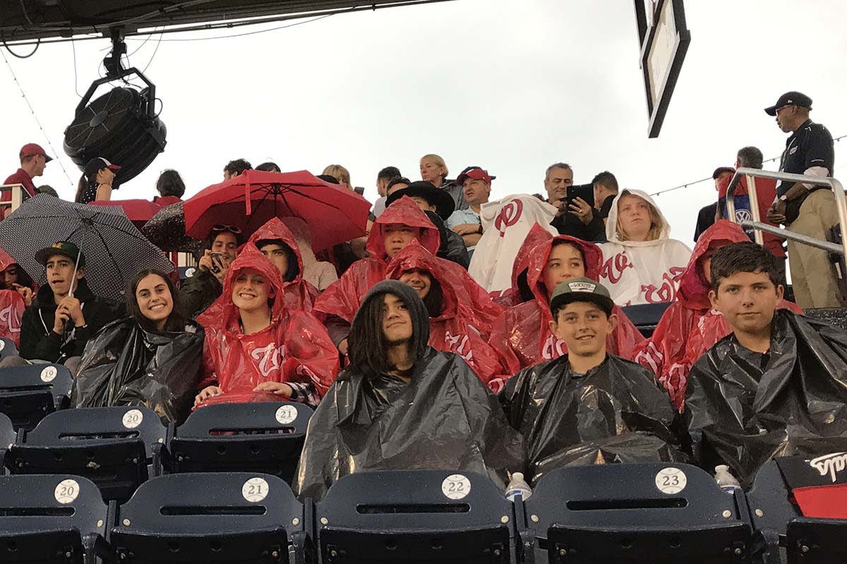 Students in ponchos