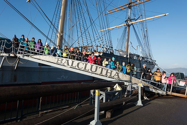 Students on Balclutha ship