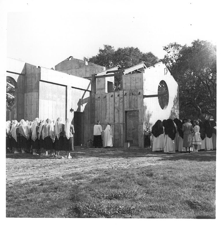 Blessing of the cornerstone of Rosary Chapel, 1954